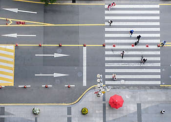 Aerial view of street with crosswalk and people, Seoul, Korea