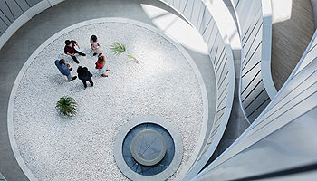 Aerial view of spiral architecture