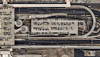 Airport building with parked cars Phoenix Arizona