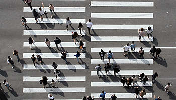 Aerial view of busy crosswalk with people, Seoul, Korea