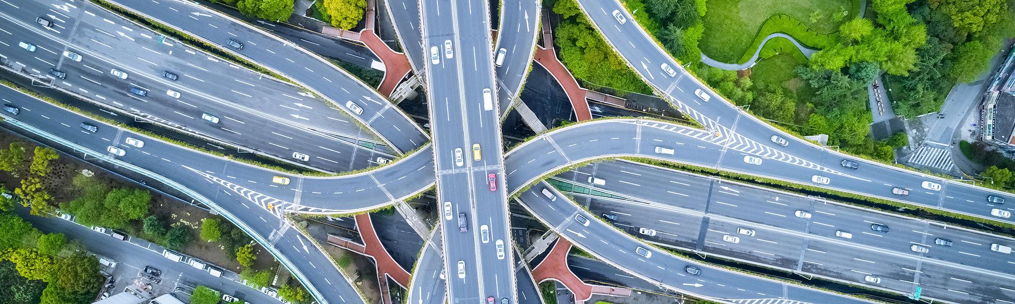 Aerial interchange highway Shanghai China