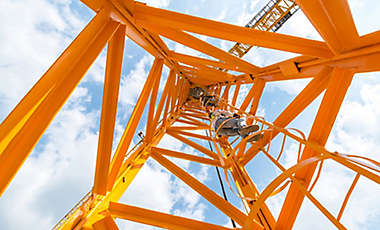 Worker construction crane sky