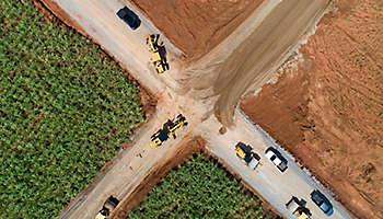 Aerial view road construction site machine Thailand