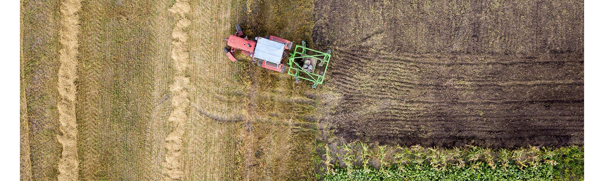 Farm machinery tractor crops aerial