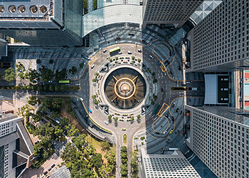 Top view of the Fountain of Wealth as the largest fountain in the world at Singapore