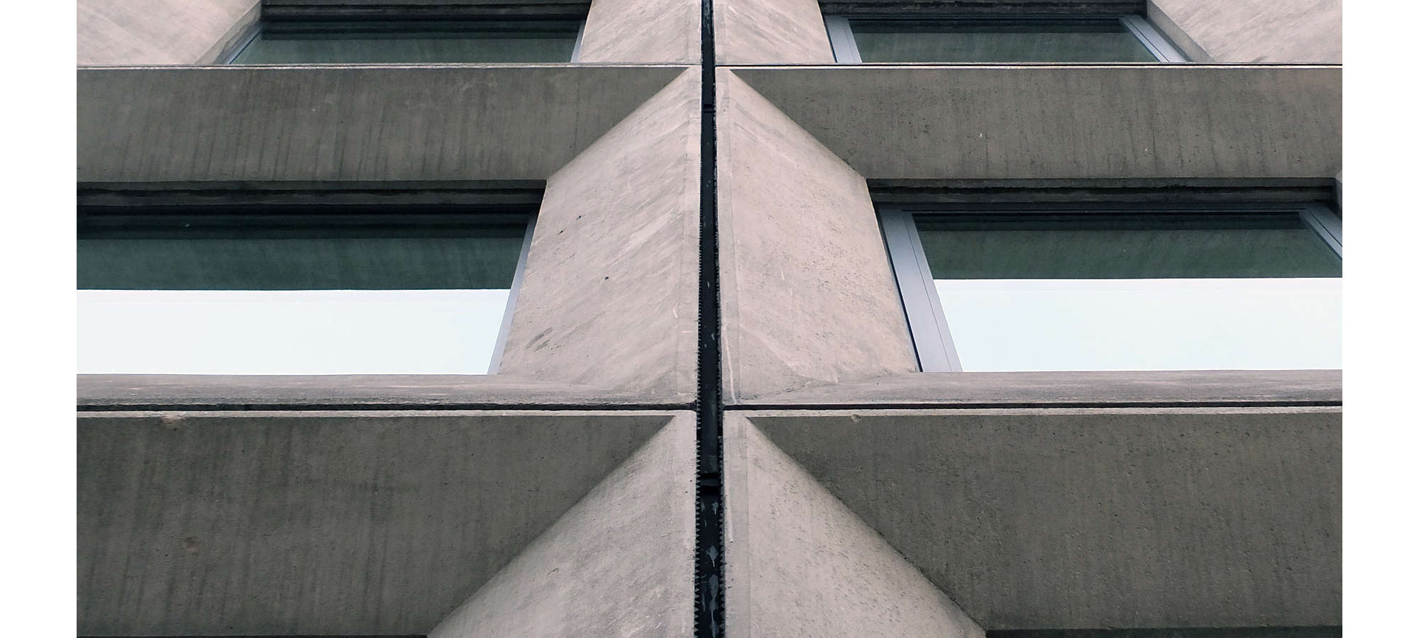 Geometric angular concrete windows