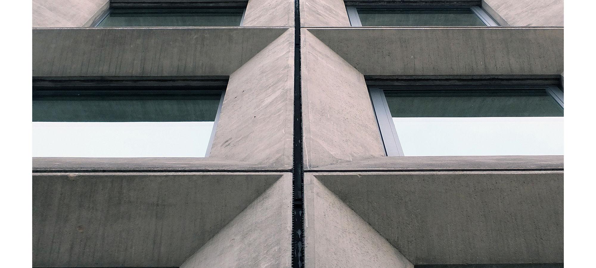 Geometric angular concrete windows