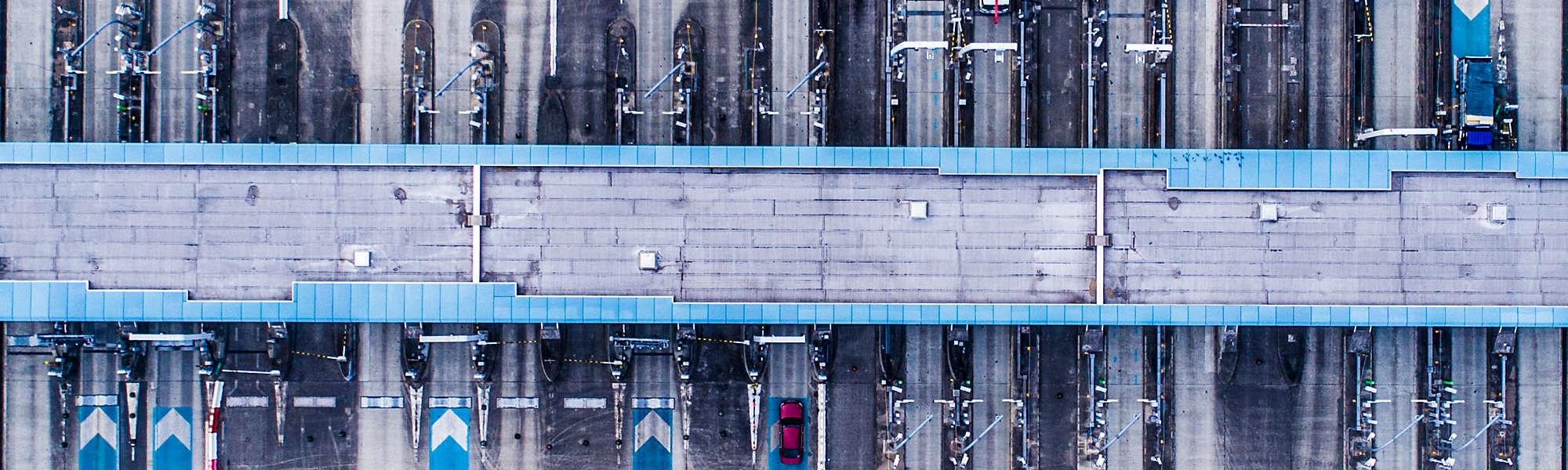Aerial view of highway toll gate Japan