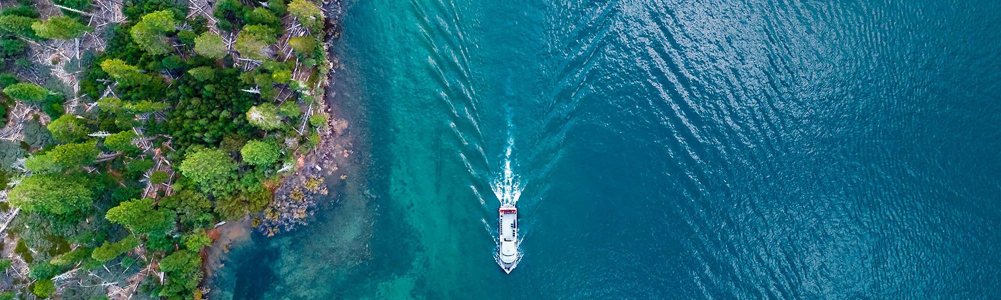 Aerial shore boat Lake Tahoe