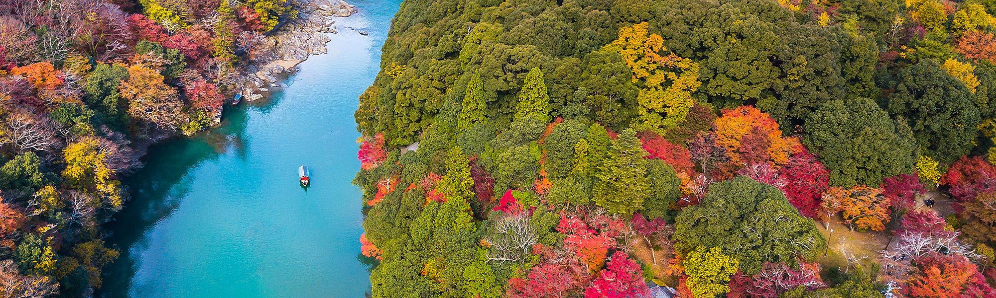 Aerial boat river autumn Kyoto