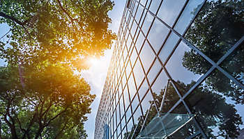 Modern office building and trees