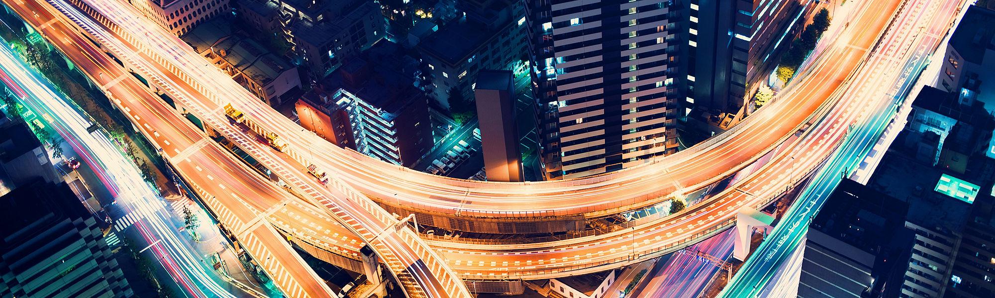 Aerial night highway Tokyo