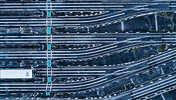 Aerial view of railroad track Japan
