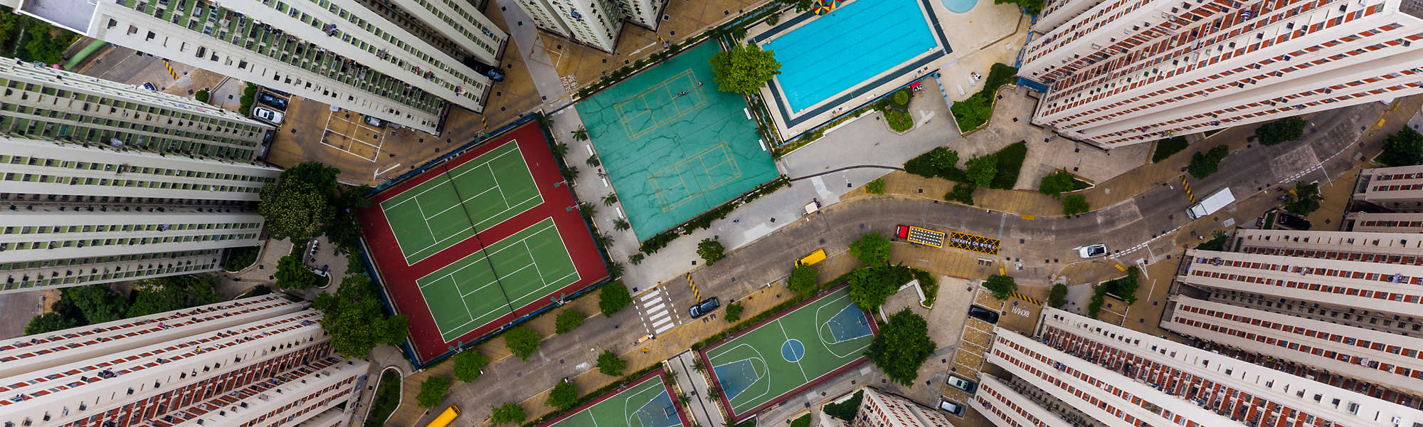 Aerial residential building Hong Kong