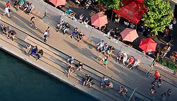 Aerial people riverwalk Chicago