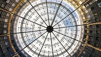 Round building transparent ceiling sky