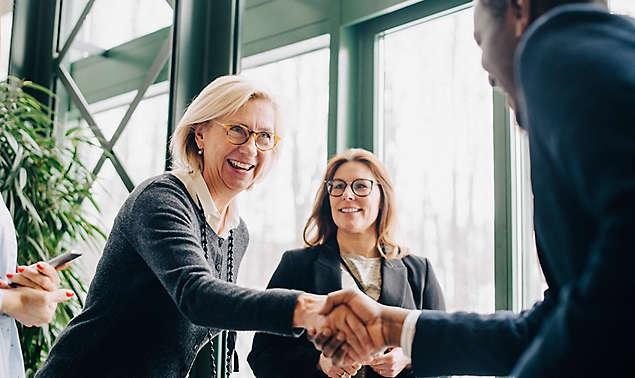 senior businesswoman greeting colleagues