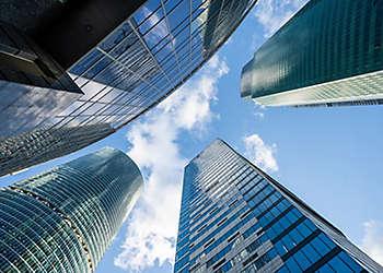 Skyscrapers upward building NYC Manhattan