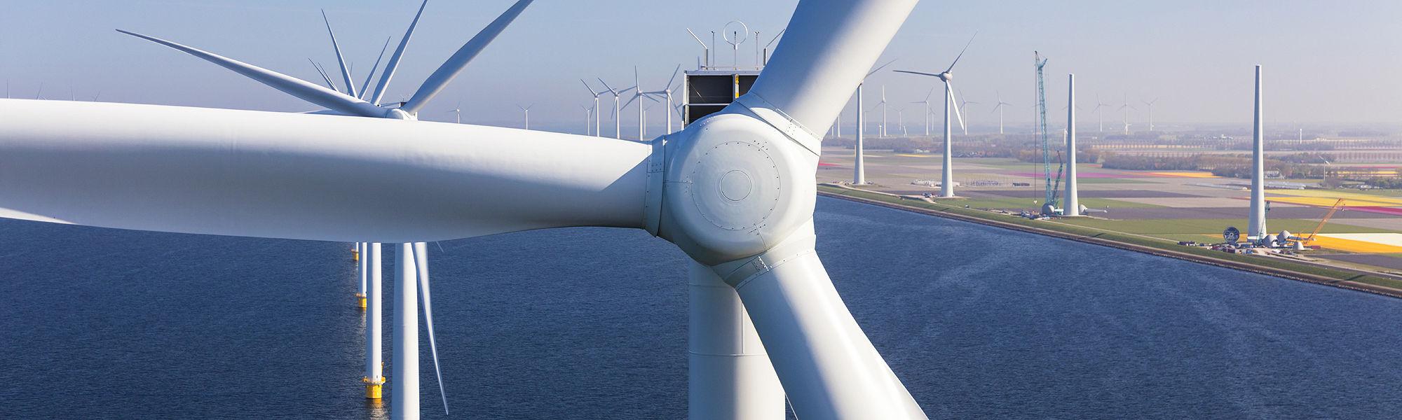 Aerial wind turbines sea Netherlands