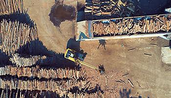 Aerial wood industry factory
